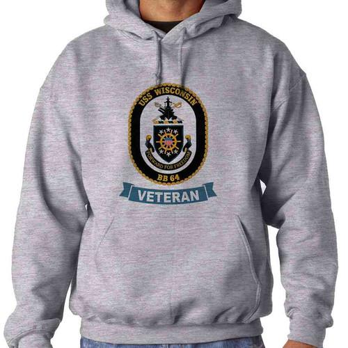 uss wisconsin veteran hooded sweatshirt