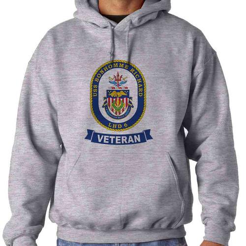 uss bonhomme richard veteran hooded sweatshirt