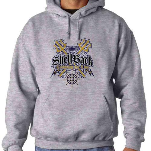 navy shellback crossing line hooded sweatshirt