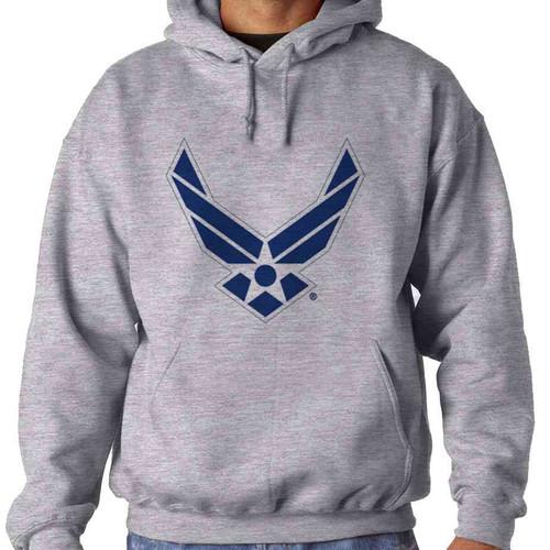 us air force blue wings logo hooded sweatshirt officially licensed