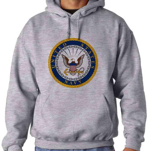 officially licensed u s navy gold emblem hooded sweatshirt