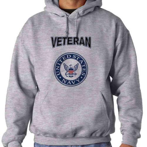 officially licensed u s navy emblem blue veteran hooded sweatshirt