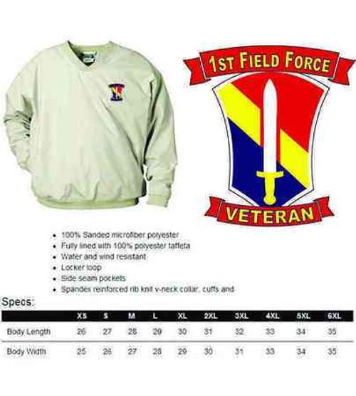 army 1st field force veteran microfiber windbreaker