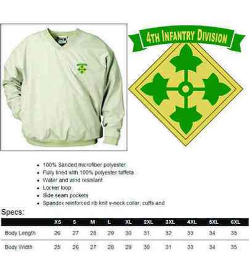 army 4th infantry division microfiber windbreaker
