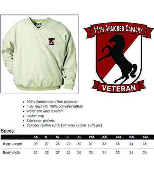 army 11th armored cavalry veteran microfiber windbreaker