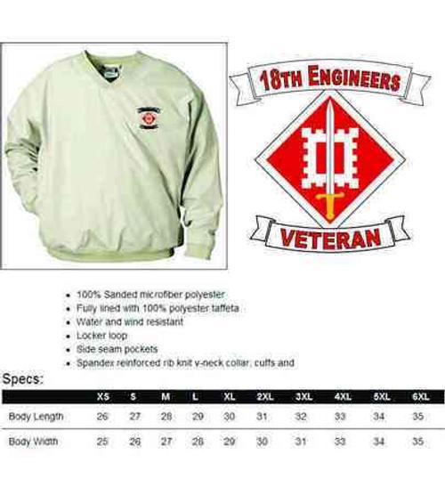 army 18th engineers veteran microfiber windbreaker