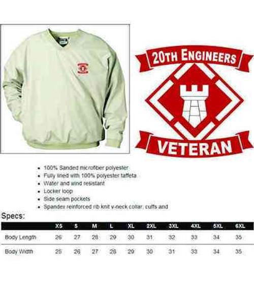 army 20th engineers veteran microfiber windbreaker