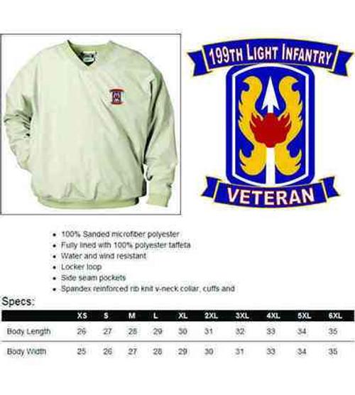 army 199th light infantry veteran microfiber windbreaker