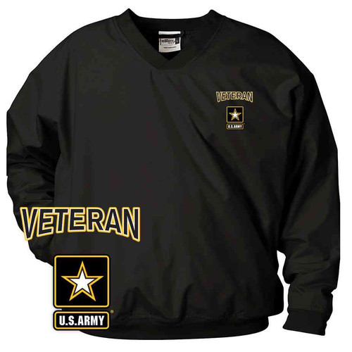 officially licensed us army veteran logo embroidered black windbreaker