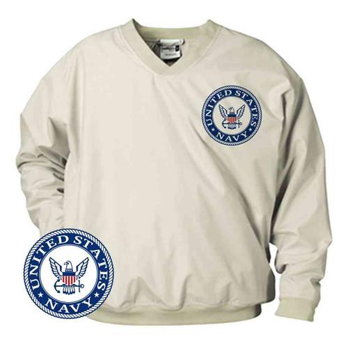 officially licensed u s navy emblem blue microfiber windbreaker