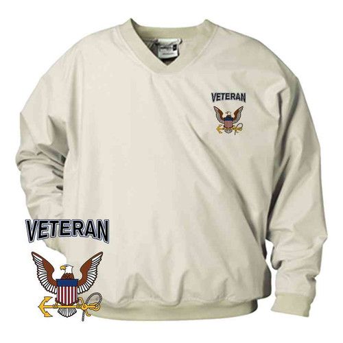 officially licensed u s navy eagle and anchor veteran microfiber windbreaker