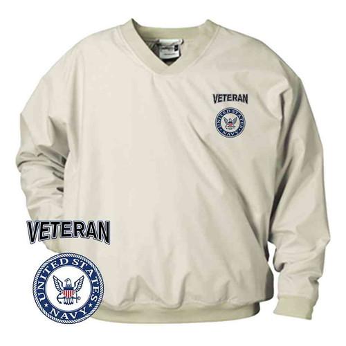 officially licensed u s navy emblem blue veteran microfiber windbreaker