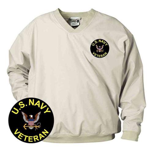 u s navy veteran vinyl emblem microfiber windbreaker