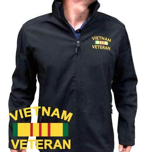 vietnam veteran ribbon embroidered softshell jacket