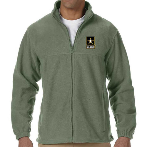 officially licensed us army logo embroidered fleece jacket