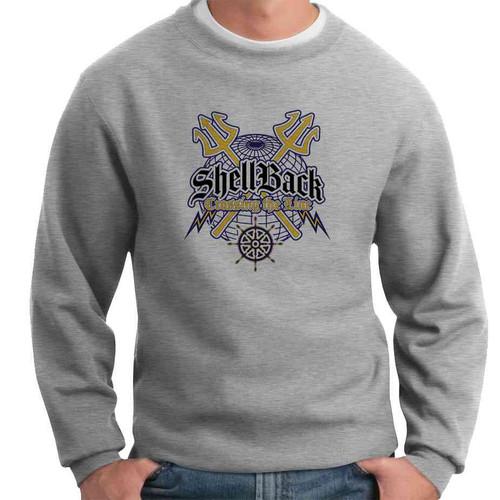 navy shellback crossing line crewneck sweatshirt