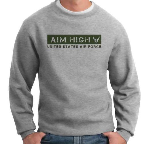 officially licensed u s air force aim high green crewneck sweatshirt