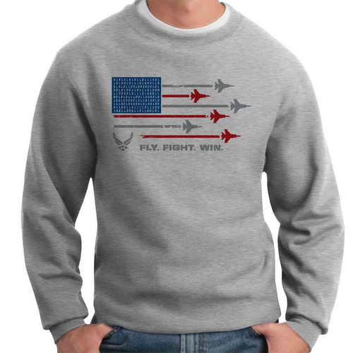 us air force fly fight win american flag and airplanes crewneck sweatshirt officially licensed