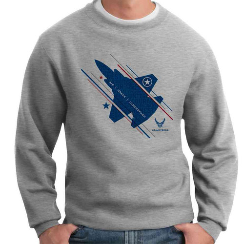 officially licensed u s air force jet and stars crewneck sweatshirt