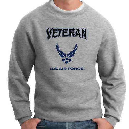 us air force veteran wings crewneck sweatshirt officially licensed