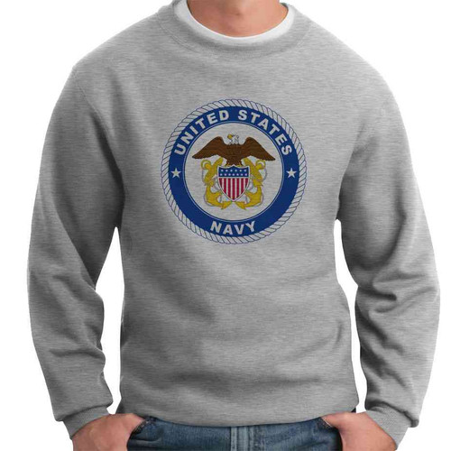 us navy eagle seal and anchors crewneck sweatshirt officially licensed