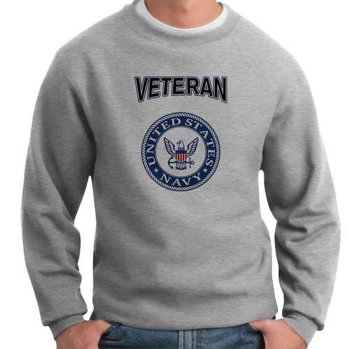 officially licensed u s navy emblem blue veteran crewneck sweatshirt