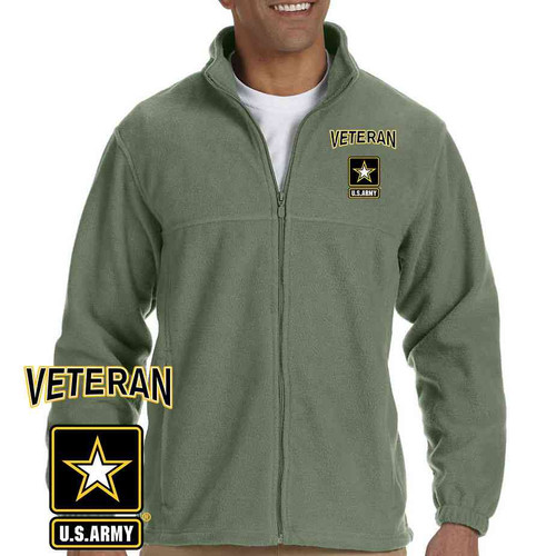 officially licensed us army veteran logo embroidered fleece jacket