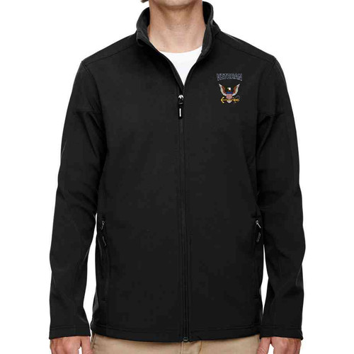 officially licensed by united states navy eagle and anchor embroidered softshell jacket