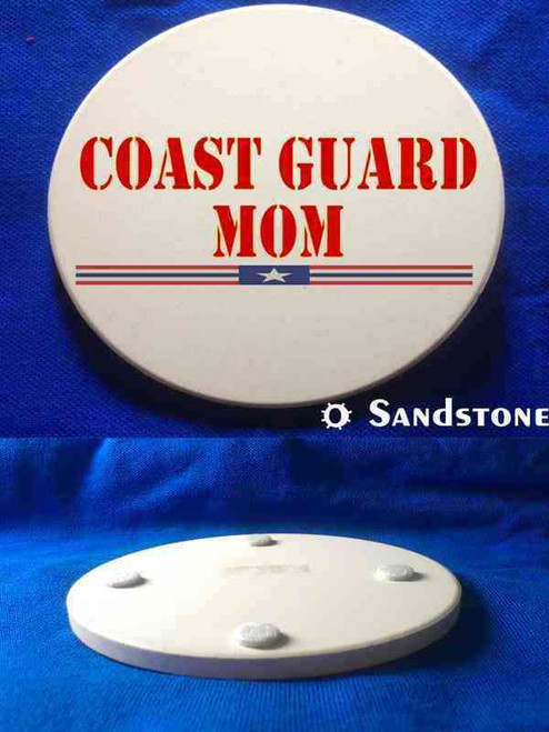 coast guard mom red sandstone coaster