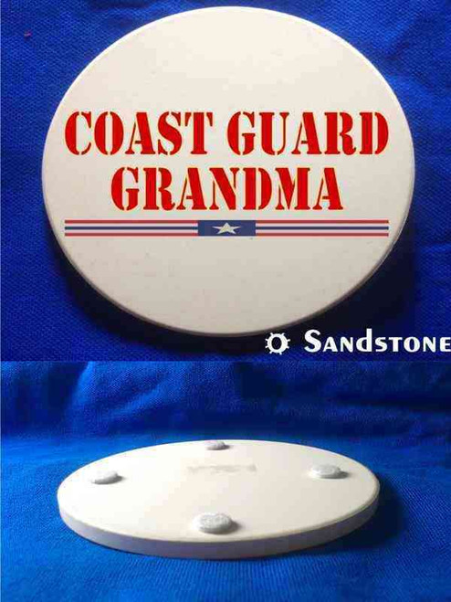 coast guard grandma red sandstone coaster