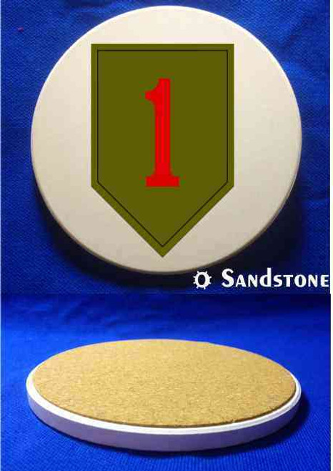 army 1st infantry division sandstone coaster