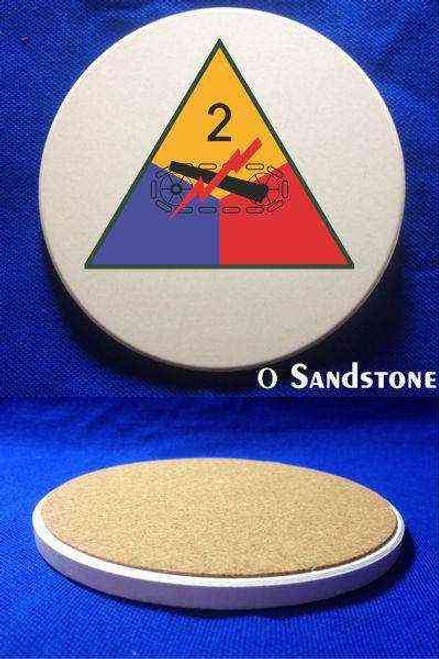 army 2nd armored division sandstone coaster