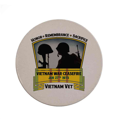 vietnam war ceasefire sandstone coaster