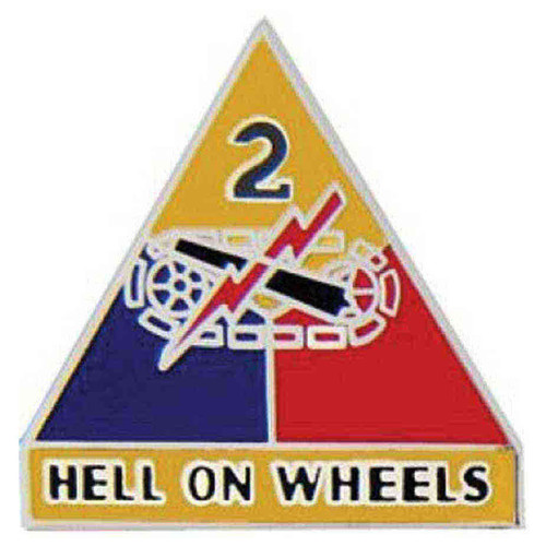 army 2nd armored div hat lapel pin