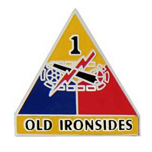 army 1st armored div hat lapel pin
