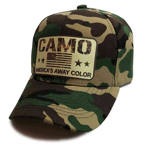 camo us flag stars woodland hat