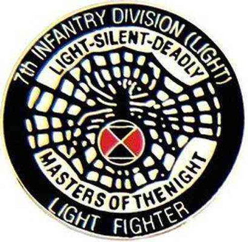army 7th light inf hat lapel pin