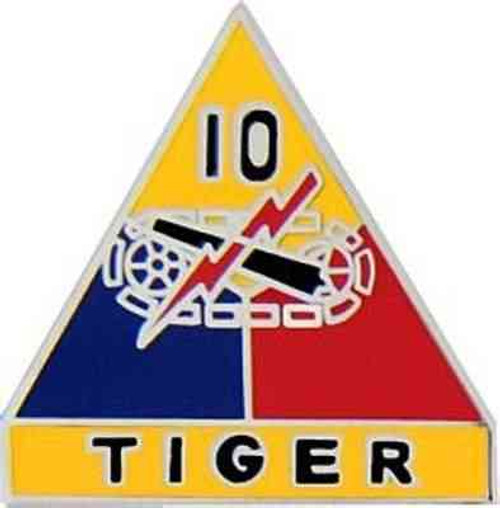 army 10th armored div hat lapel pin
