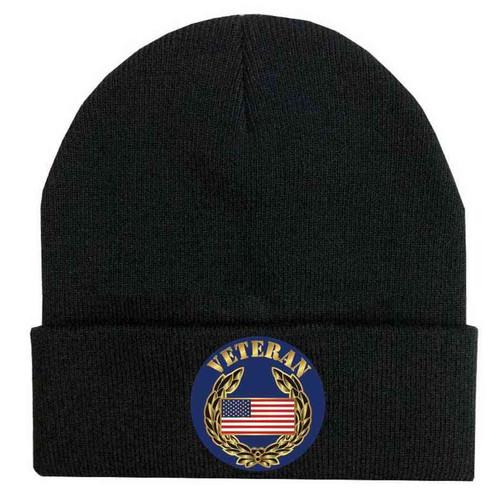 veteran us flag and wreathe custom edition vinyl knit winter hat