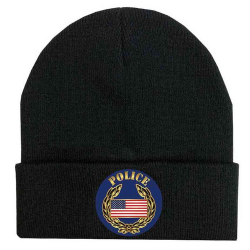 police us flag and wreathe custom edition vinyl knit winter hat