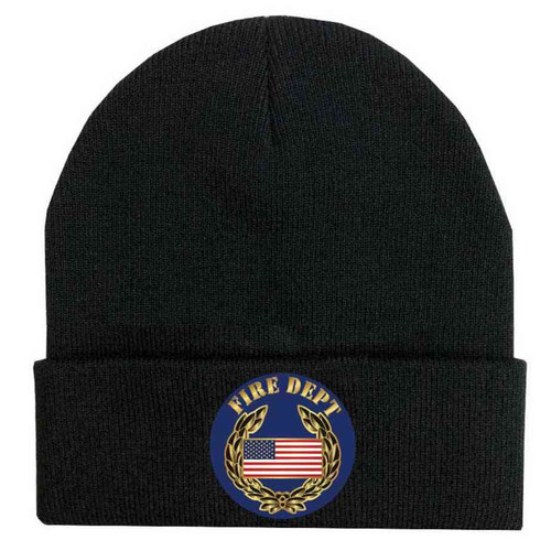 fire dept us flag and wreathe custom edition vinyl knit winter hat