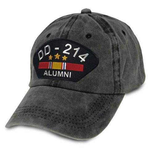 us veteran hat dd214 alumni and national service ribbon vintage gray