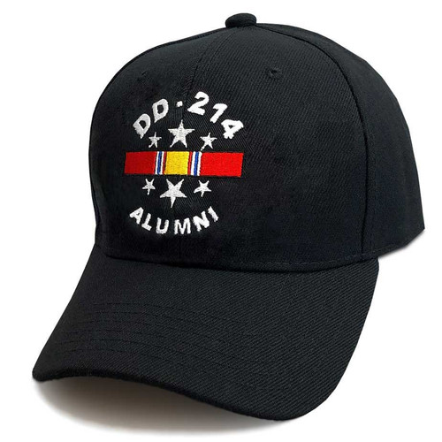 us veteran hat embroidered dd214 and national service ribbon