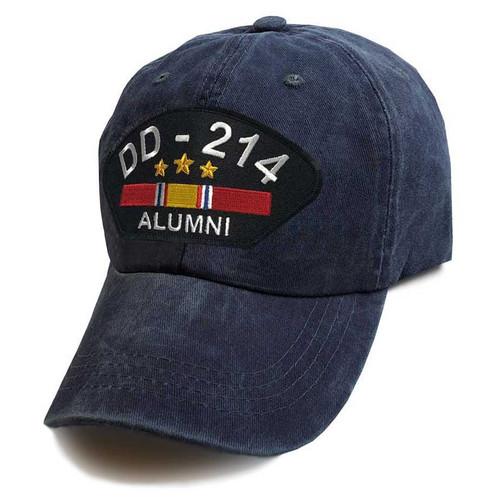 us veteran hat dd214 alumni and national service ribbon vintage blue