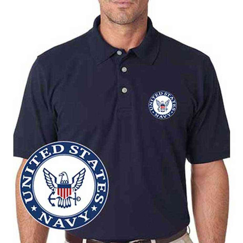 embroidered us navy polo shirt
