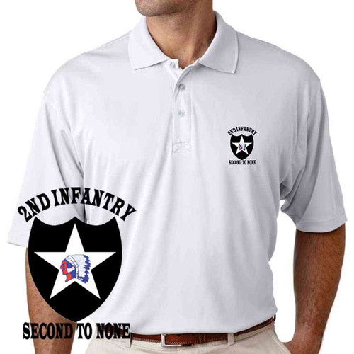 us army 2nd infantry division second to none performance polo shirt