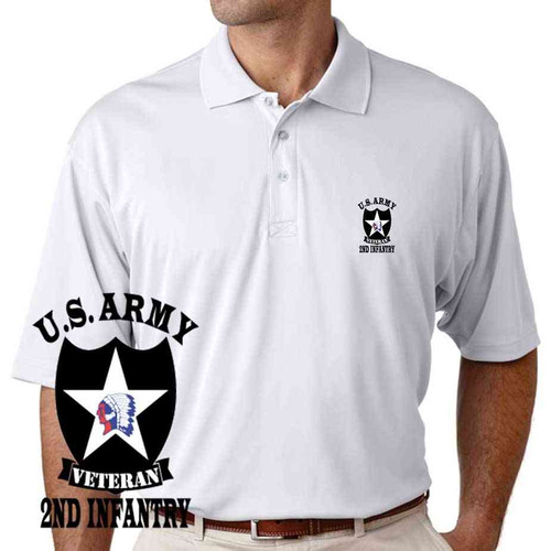 us army 2nd infantry division veteran performance polo shirt