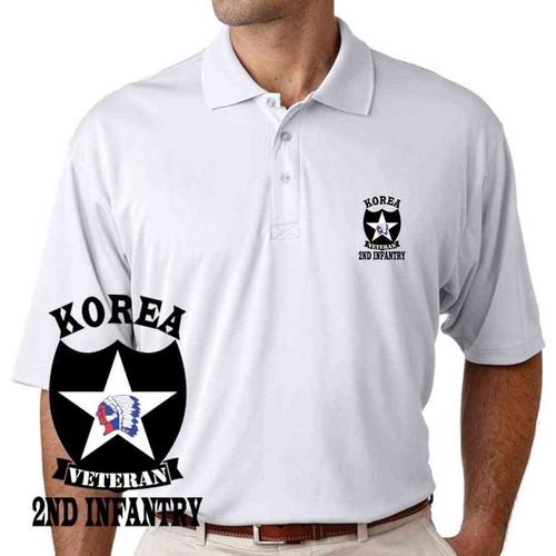army 2nd infantry division korea veteran performance polo shirt