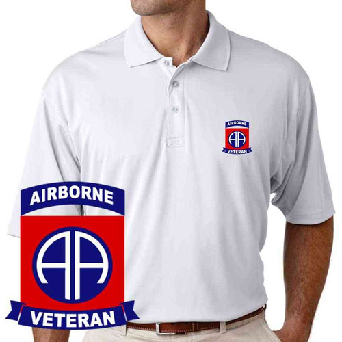 82nd airborne veteran performance polo shirt