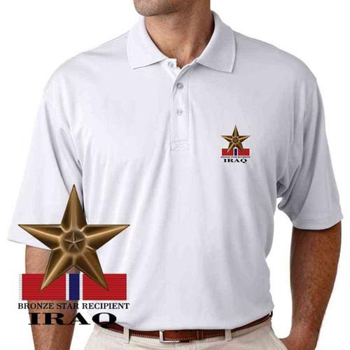 bronze star recipient iraq performance polo shirt